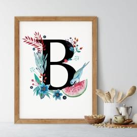 Litera B z ilustracją