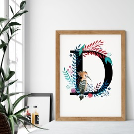 Litera D z ilustracją