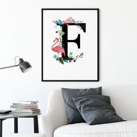 Litera E z ilustracją