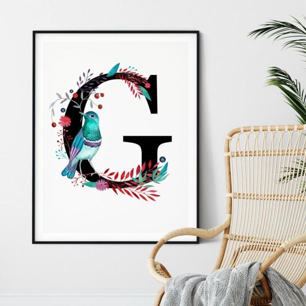 Litera G z ilustracją
