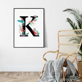 Litera K z ilustracją