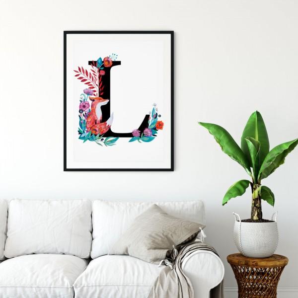 Litera L z ilustracją
