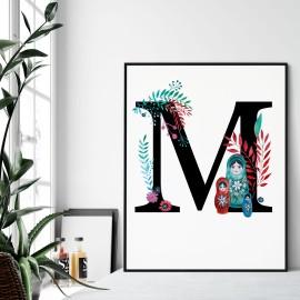 Litera M z ilustracją