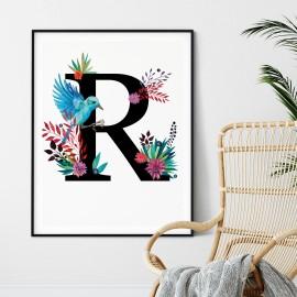 Litera R z ilustracją