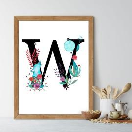 Litera W z ilustracją