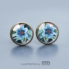 BLUE FLOWER kolczyki wkrętki